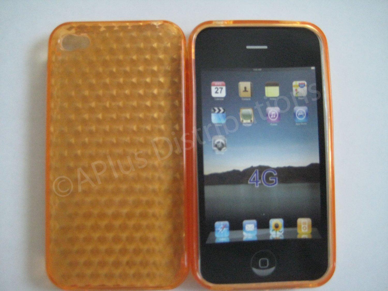New Orange Diamond Cut Pattern TPU Cover For iPhone 4 - (0141)