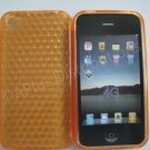 New Orange Diamond Cut Pattern TPU Cover For iPhone 4 - (0141)