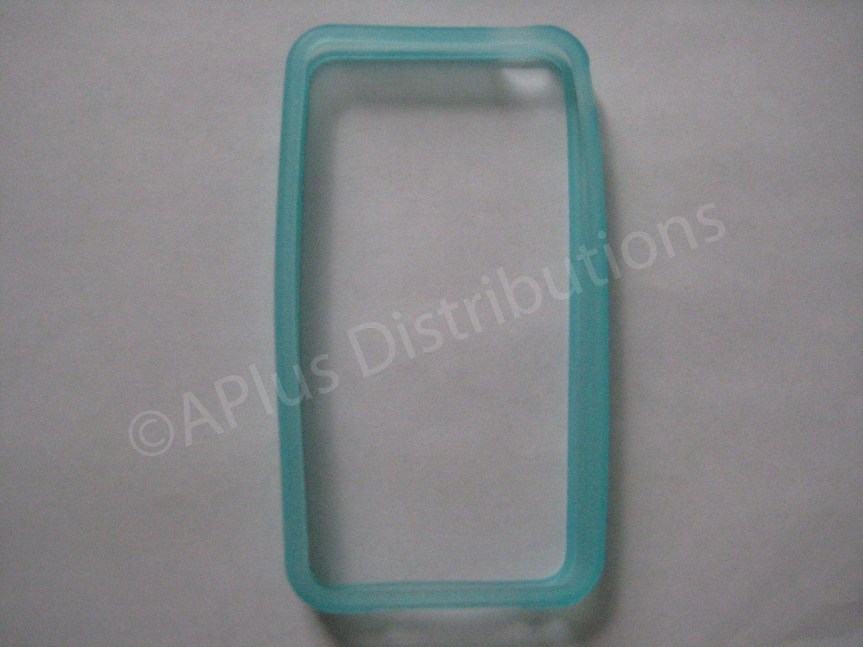 New Light Blue Bumper Design TPU Cover For iPhone 4 - (0052)