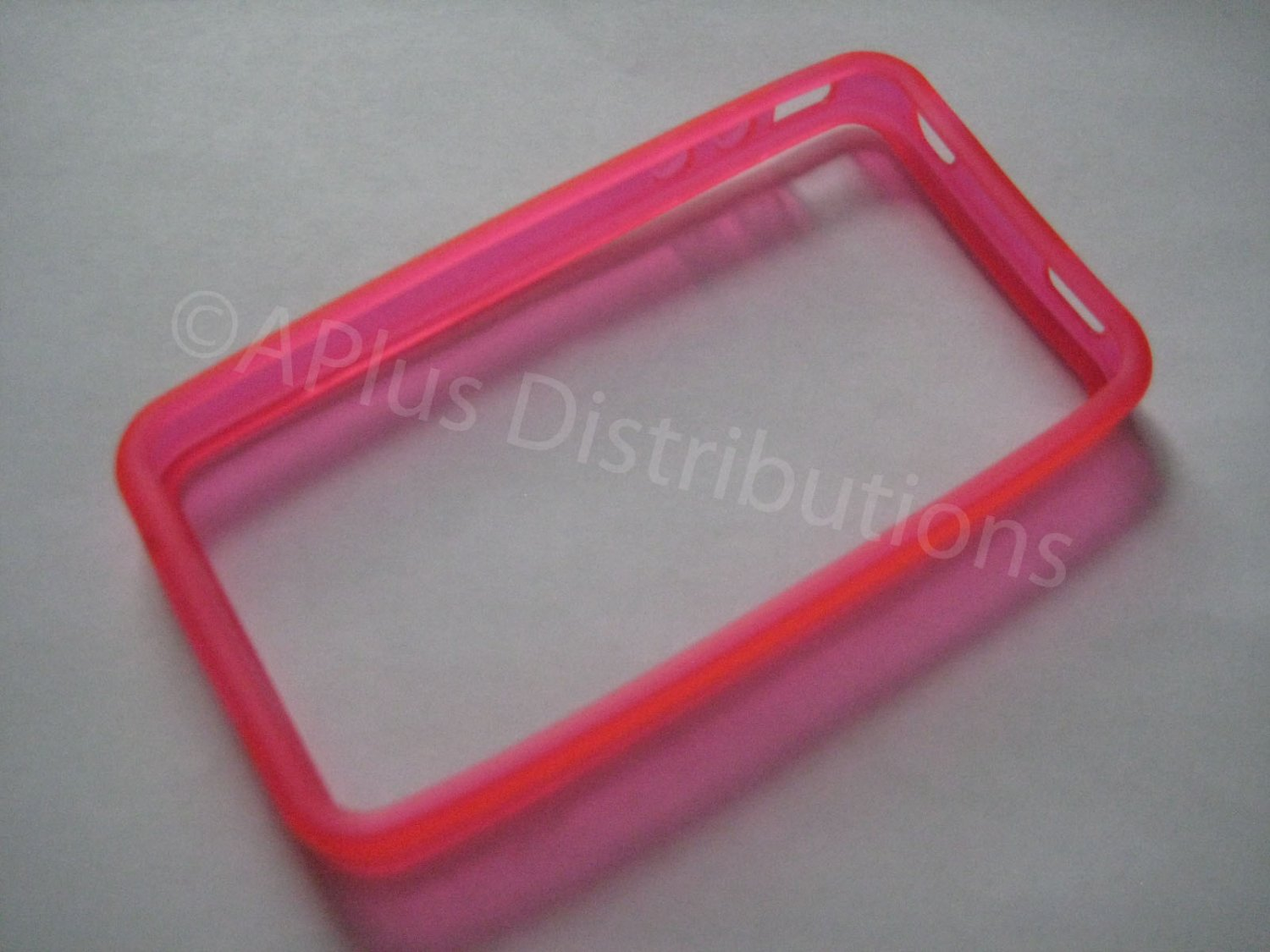 New Hot Pink Bumper Design TPU Cover For iPhone 4 - (0046)