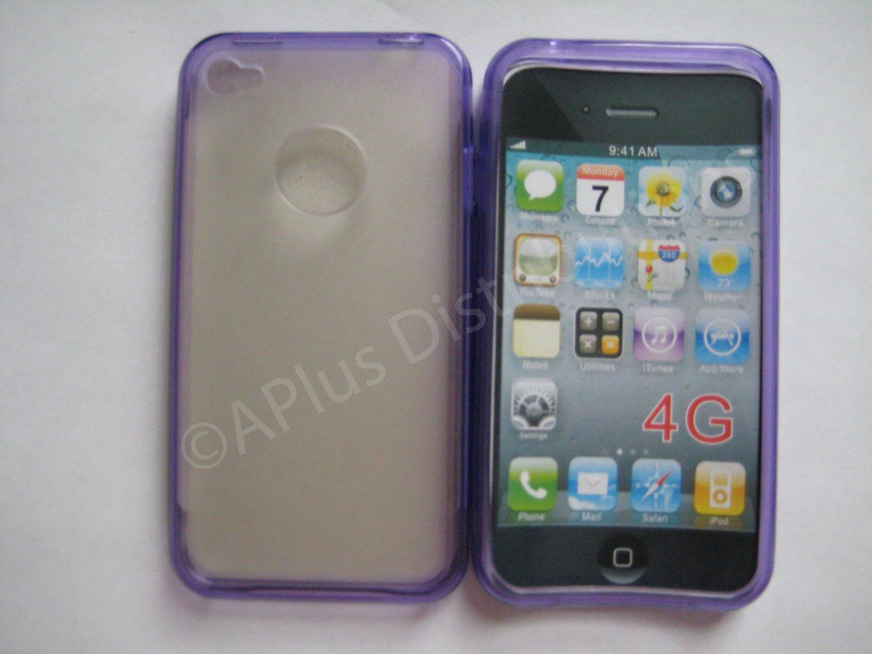 New Purple Tpu/Soft Combo Design TPU Cover For iPhone 4 - (0056)