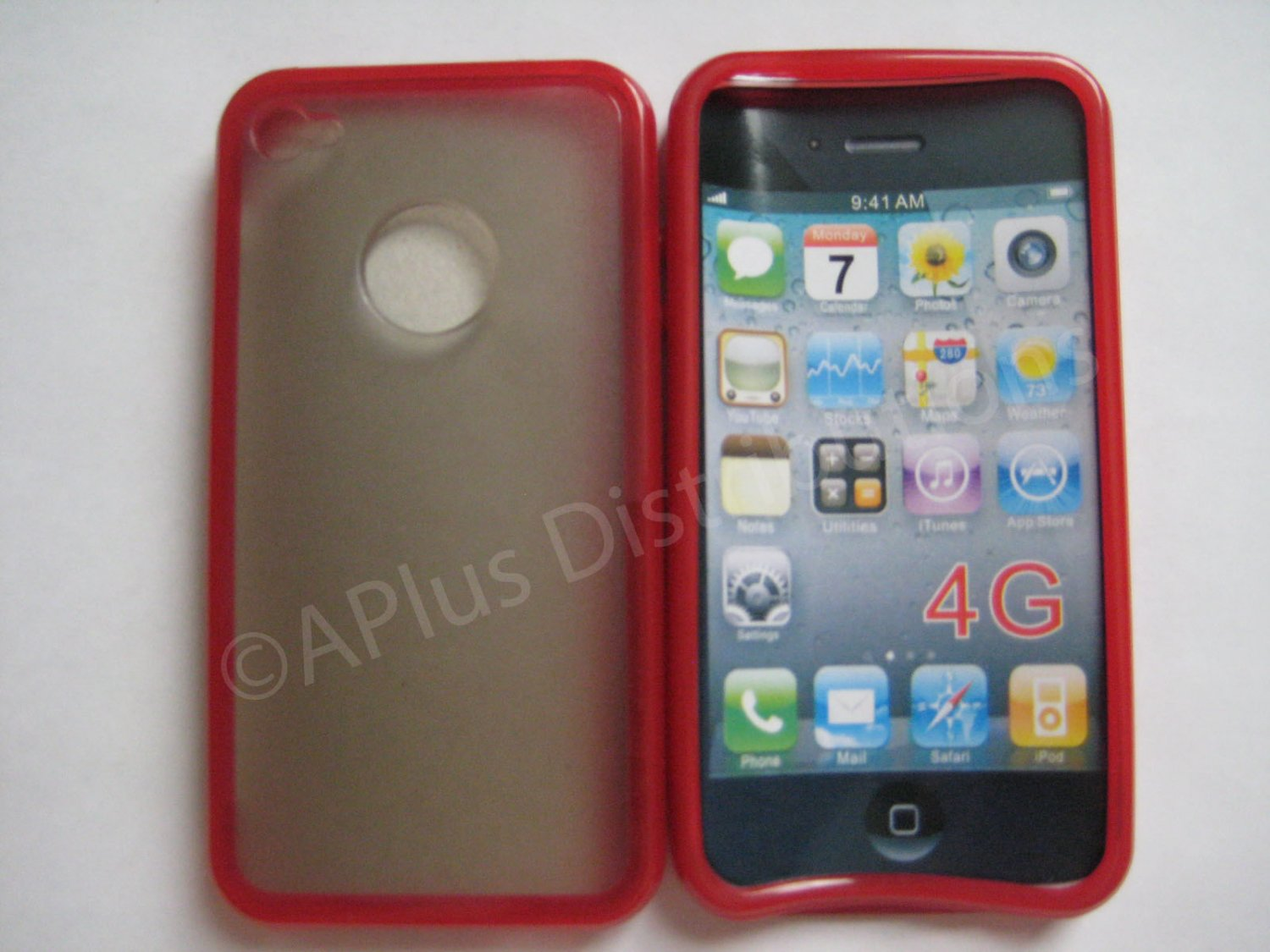 New Red Tpu/Soft Combo Design TPU Cover For iPhone 4 - (0058)