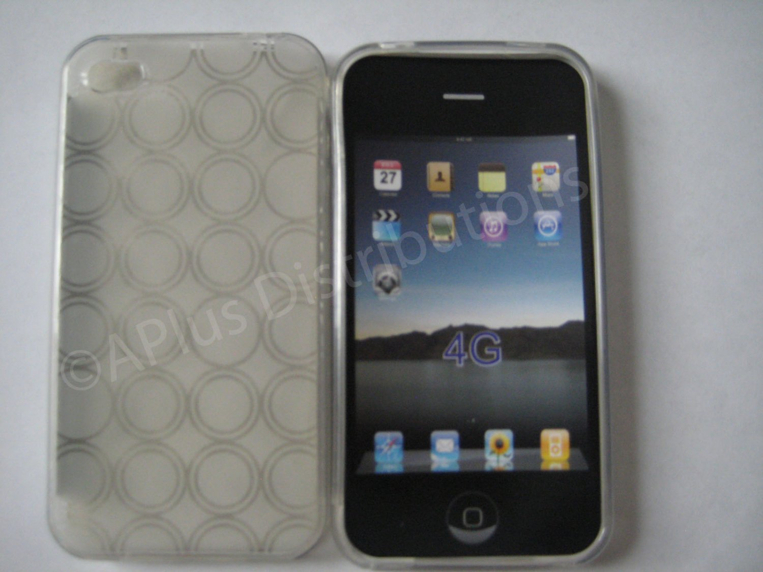 New Clear Transparent Multi-Circles Design TPU Cover For iPhone 4 - (0038)