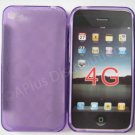 New Purple Transparent Multi-Circles Design TPU Cover For iPhone 4 - (0098)