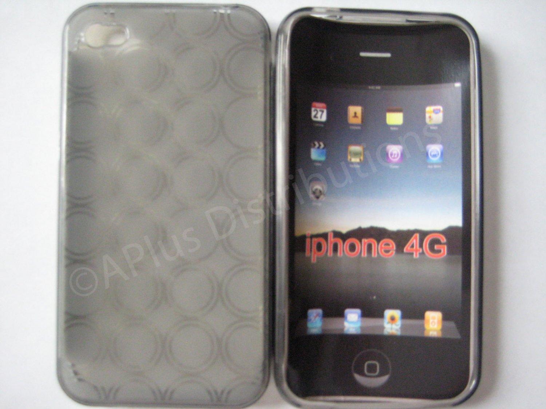 New Smoke Transparent Multi-Circles Design TPU Cover For iPhone 4 - (0040)