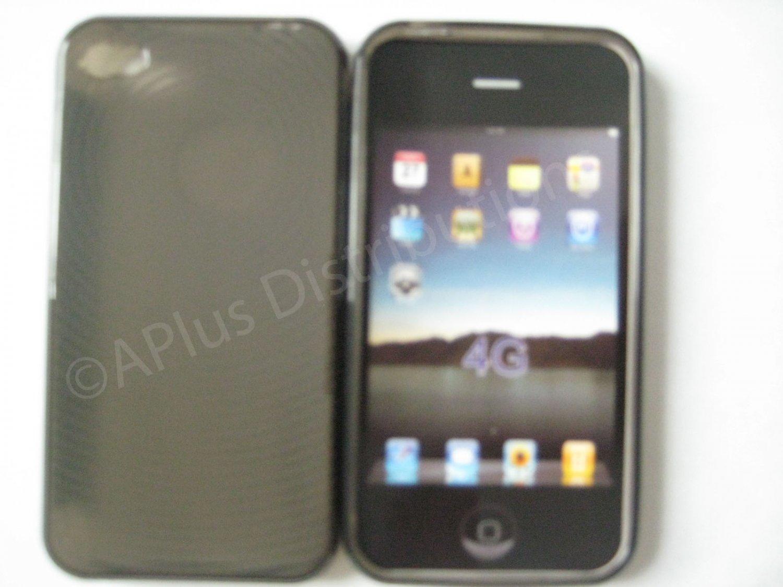 New Black Transparent Thumb Print Design TPU Cover For iPhone 4 - (0022)