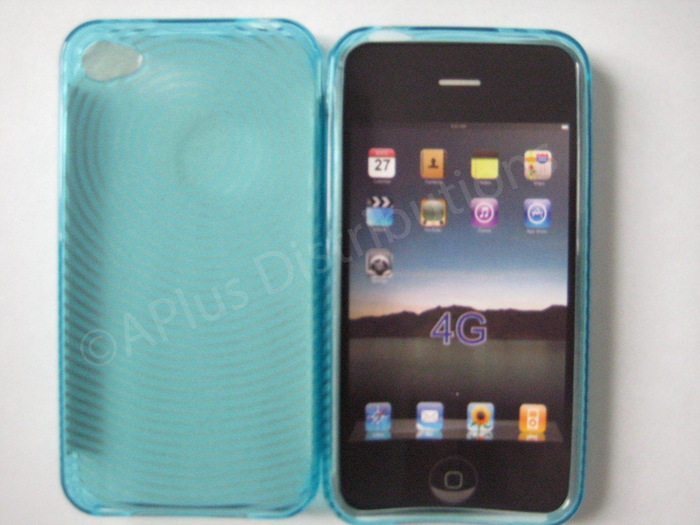 New Light Blue Transparent Thumb Print Design TPU Cover For iPhone 4 - (0077)