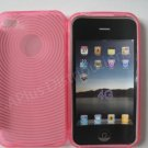 New Pink Transparent Thumb Print Design TPU Cover For iPhone 4 - (0021)
