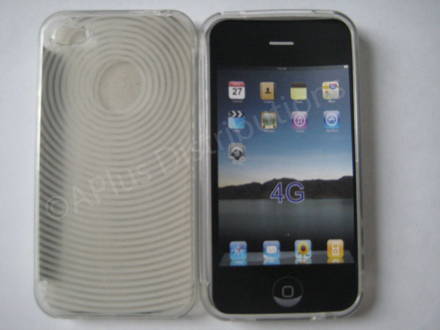 New Clear Transparent Thumb Print Design TPU Cover For iPhone 4 - (0019)