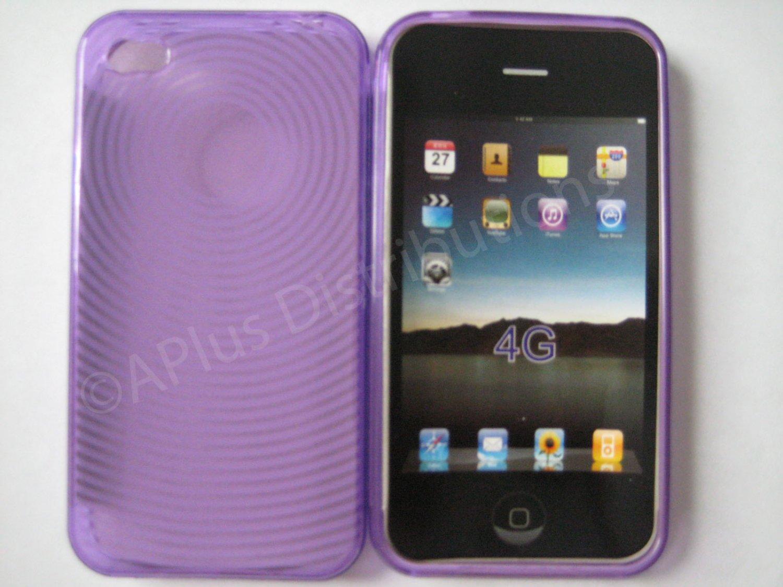 New Purple Transparent Thumb Print Design TPU Cover For iPhone 4 - (0018)