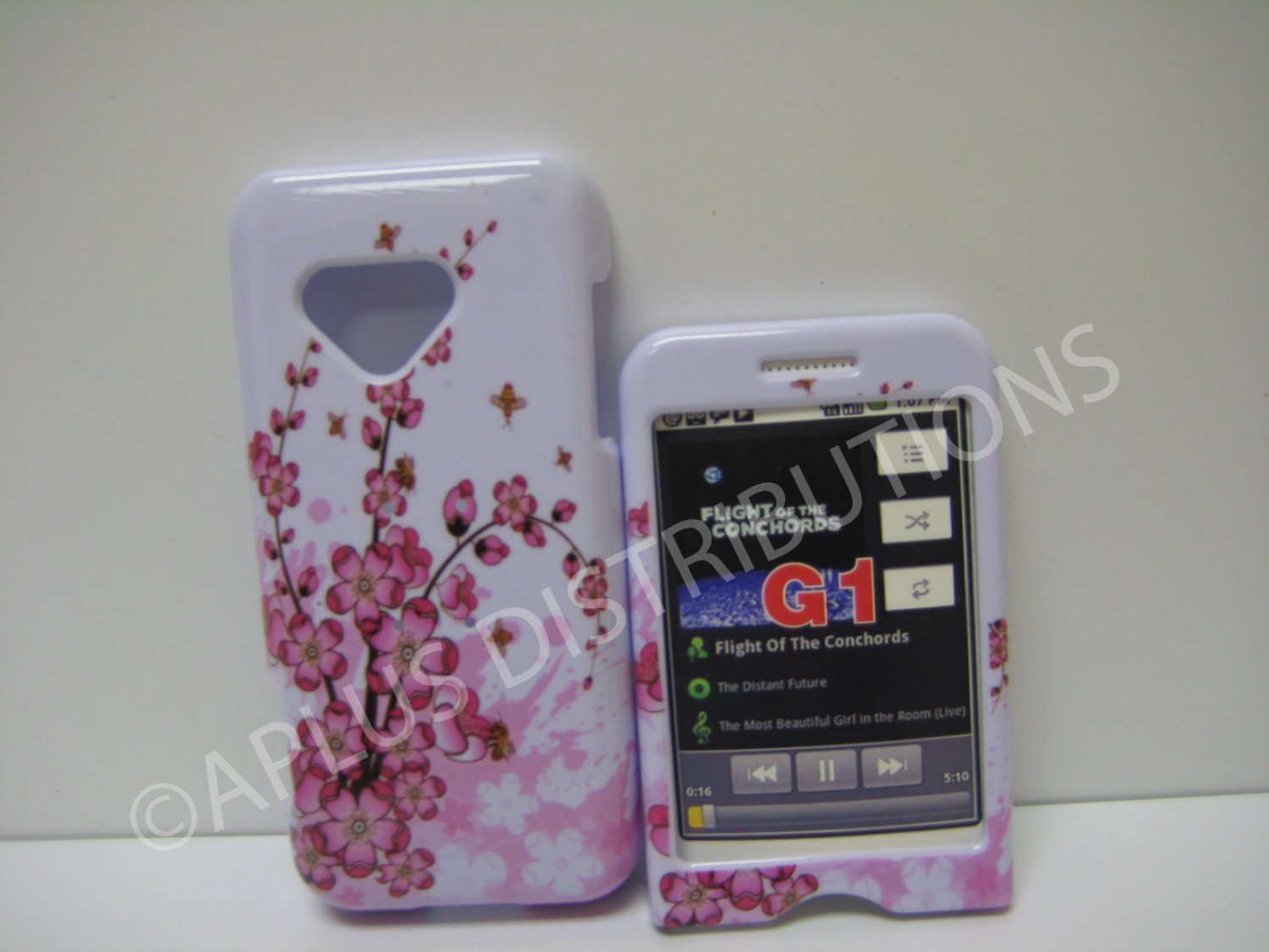 New Pink Cherry Blossom Small Hard Protective Cover For HTC G1 Dream - (0008)