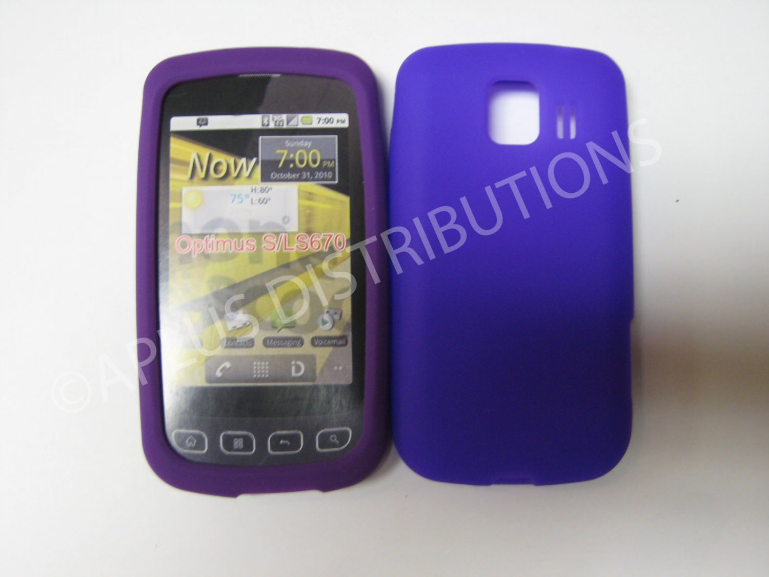 New Purple Solid Color Silicone Skin Case For LG Optimus S LS670 - (0016)