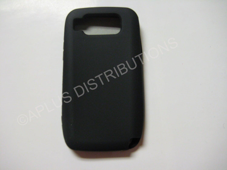 New Black Solid Color Silicone Skin Case For Nokia E72 - (0006)