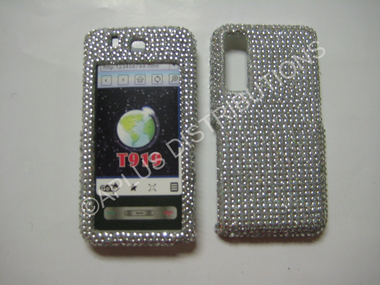 New Silver Solid Design Bling Diamond Case For Samsung Behold T919 - (0004)