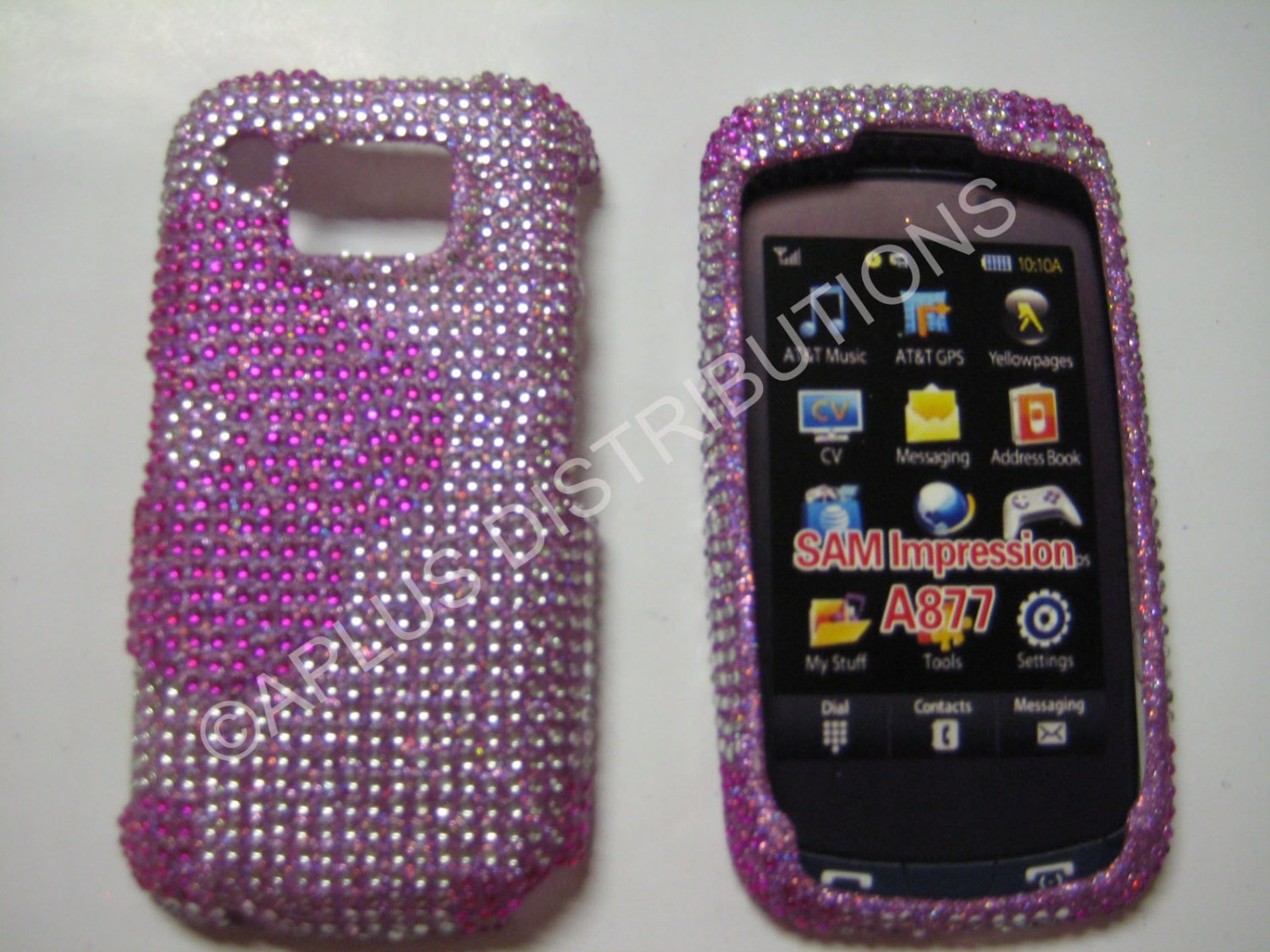 New Hot Pink Half Flower Bling Diamond Case For Samsung Impression A877 - (0002)