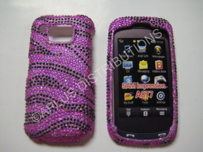 New Hot Pink Zebra Design Bling Diamond Case For Samsung Impression A877 - (0003)