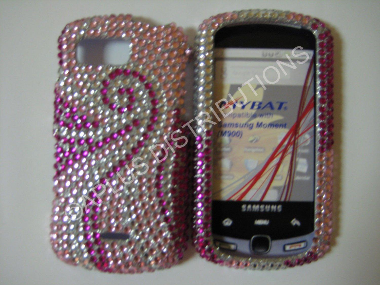New Hot Pink Thin Swirl Design Bling Diamond Case For Samsung Moment M900 - (0017)