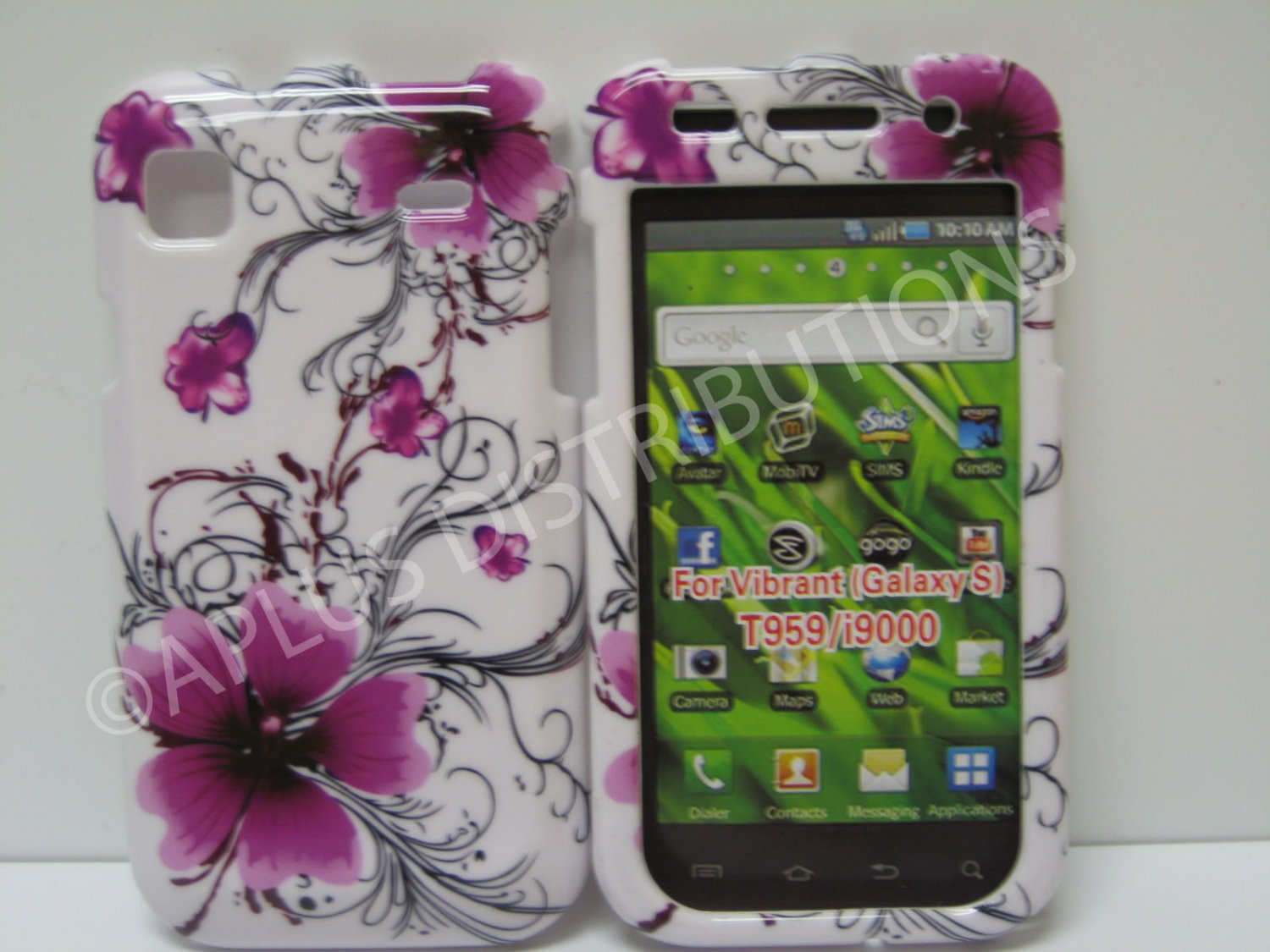 New Purple Hibiscus Swirls Hard Protective Cover For Samsung Galaxy S I9000 - (0009)