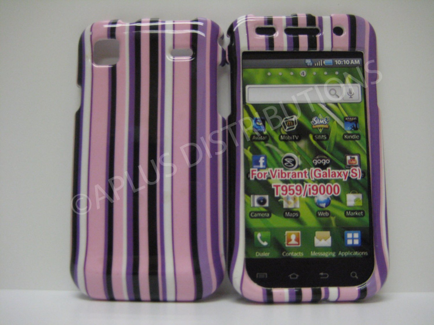 New Purple Vertical Strips Design Hard Protective Cover For Samsung Galaxy S I9000 - (0072)