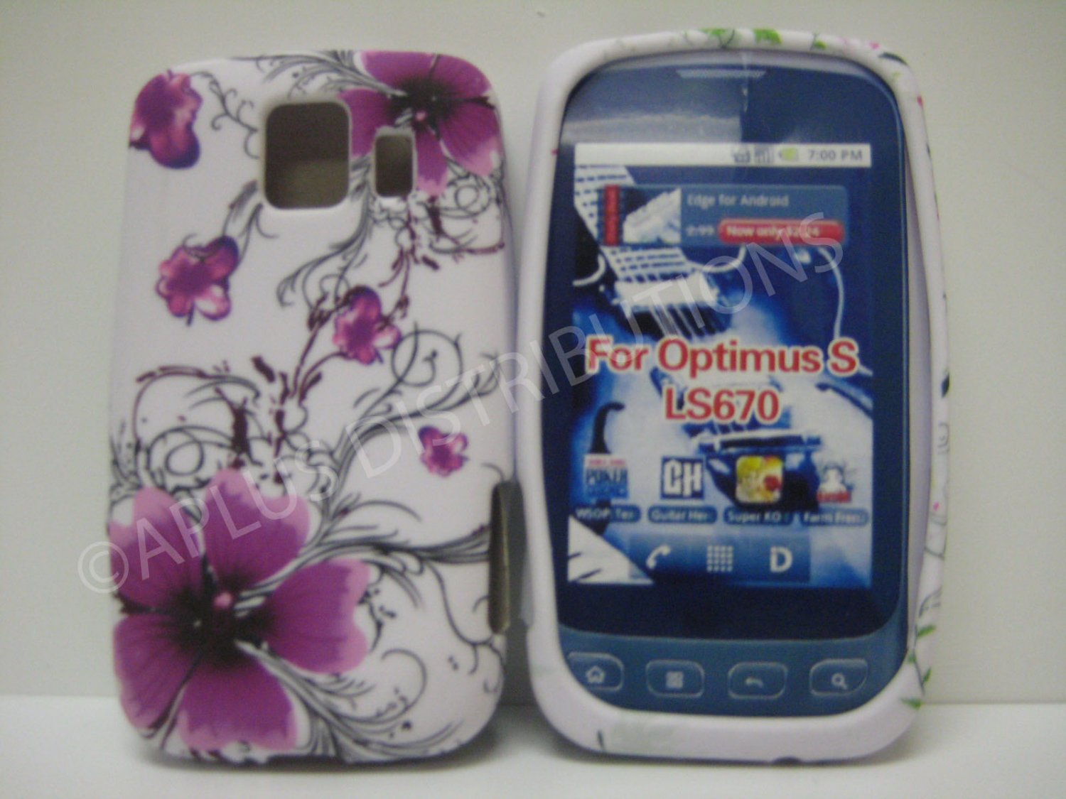 New Purple Hibiscus Swirls Design TPU Cover For LG Optimus S LS670 - (0021)