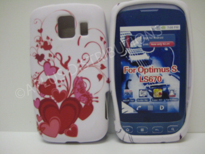 New Red Multi-Heart Vines Design TPU Cover For LG Optimus S LS670 - (0027)