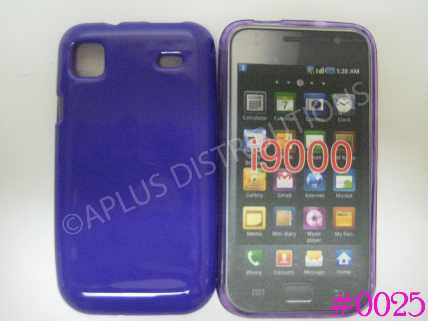 New Purple Solid Color TPU Cover For Samsung Galaxy S I9000 - (0025)