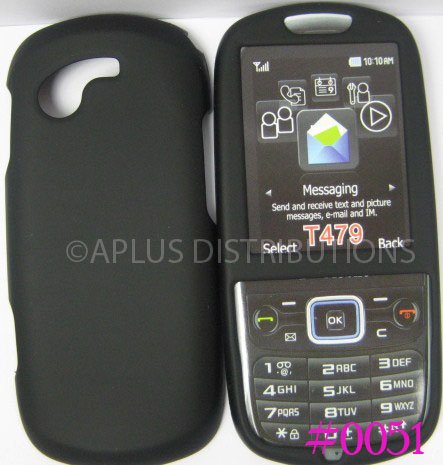 New Black Rubberized Hard Protective Cover For Samsung Gravity 3 T479 - (0051)