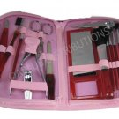 NEW 18-PIECE MANICURE & COSMETIC TRAVEL SET WCONVENIENT ZIPPER CASE - L PNK