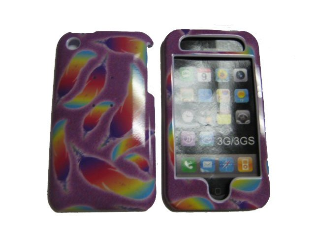 New Multi-Color Feathers  Design Hard Protective Cover For iPhone 3G 3GS - (0110)
