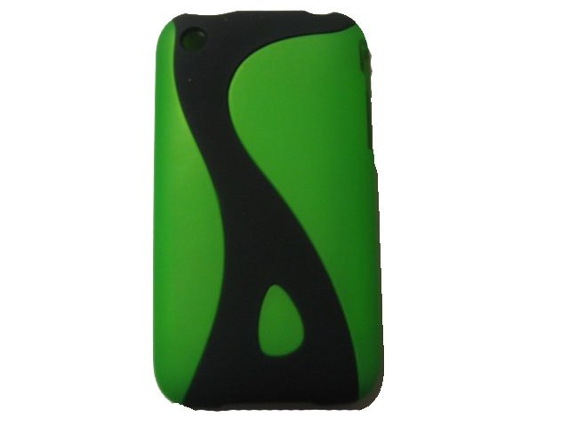 New Lime Green Rubberized Twist Design Hard Protective Cover For iPhone 3G 3GS - (0102)