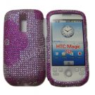 New Pink Half Flower Bling Diamond Case For HTC My Touch G2 Magic