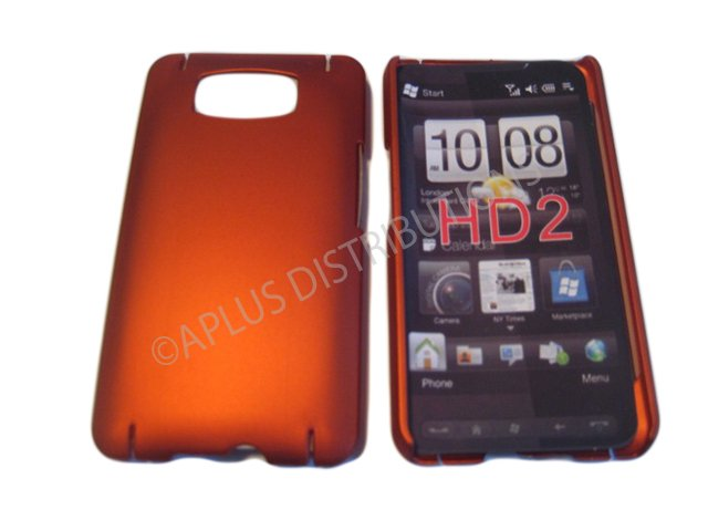 New Burnt Orange Solid Color Hard Rubberized Case Cover For HTC HD 2