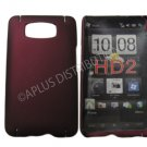 New Maroon Solid Color Hard Rubberized Case Cover For HTC HD 2
