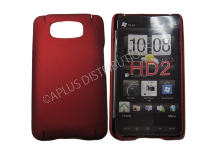 New Red Solid Color Hard Rubberized Case Cover For HTC HD 2