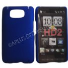 New Blue Solid Color Hard Rubberized Case Cover For HTC HD 2
