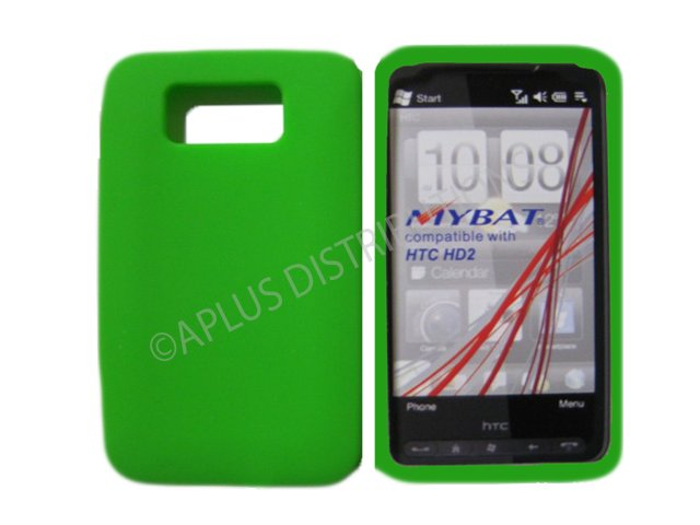 New Lime Green Solid Color Silicone Skin Case For HTC HD 2