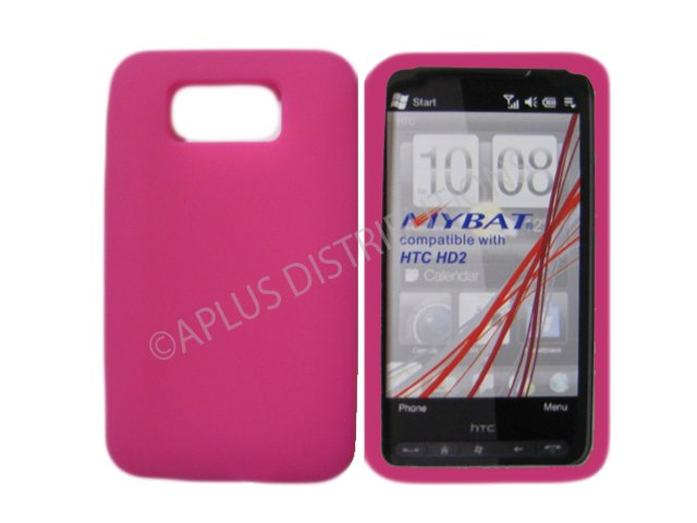 New Hot Pink Solid Color Silicone Skin Case For HTC HD 2