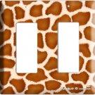 GIRAFFE ANIMAL SKIN PRINTS KIDS ROOM DECO ROCKER DOUBLE LIGHT SWITCH PLATE