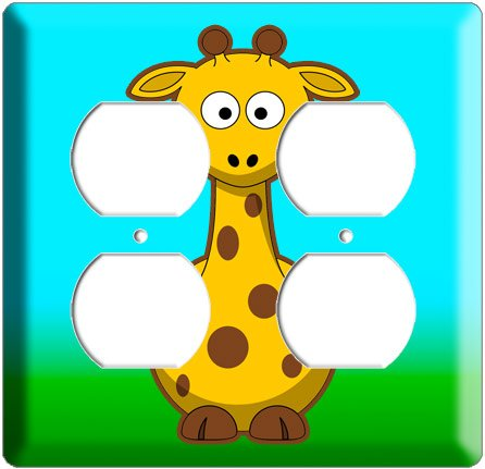 CUTE GIRAFFE KIDS ROOM DECOR ELECTRICAL 4 HOLE OUTLET  WALL PLATE COVER