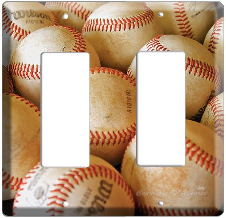 NEW BASEBALL PLAYED OLD BALLS MLB DOUBLE GFI SWITCH COVER WALL PLATE COVER