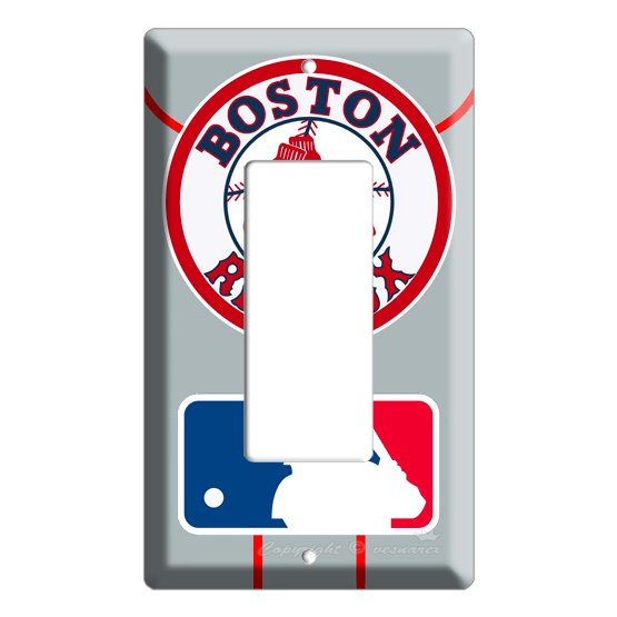 NEW BOSTON RED SOX BASEBALL MLB SINGLE SWITCH GFI DECORA/ROCKER COVER WALL PLATE COVER ROOM DECOR