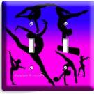 LITTLE GYMNAST DOUBLE LIGHT SWITCH WALL PLATE GIRLS ROOM GYM DANCE STUDIO DECOR