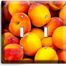 RIPE PEACHES DOUBLE LIGHT SWITCH WALL PLATE DINING ROOM KITCHEN HOME FRUIT DECOR