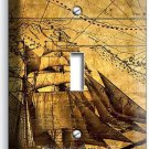 PIRATE SHIP OLD TREASURE MAP SINGLE LIGHT SWITCH COVER BOYS BEDROOM ROOM DECOR