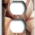 WORN OUT OLD RUSTIC BASEBALL BALLS ELECTRICAL DUPLEX OUTLET PLATE BOY ROOM DECOR