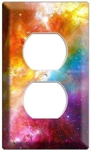 SPACE GALAXY STARS COLORFUL NEBULA POWER OUTLET PLATE GEEK NERD ROOM BEDROOM ART