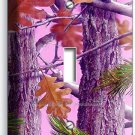 PINK OAK LEAVES MOSSY TREE CAMO CAMOUFLAGE SINGLE LIGHT SWITCH PLATE GIRLS ROOM