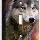 GRAY WOLF WOODS IN AUTUMN FOREST SINGLE LIGHT SWITCH WALL PLATE COVER HOME DECOR