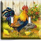 FRENCH ROOSTER FARM CHICKEN CHICKS BASKET DOUBLE LIGHT SWITCH WALL PLATE COVER