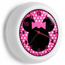 MINNIE MOUSE EARS SILHOUETTE PINK BOW POLA DOTS WALL CLOCK GIRLS BEDROOM DECOR